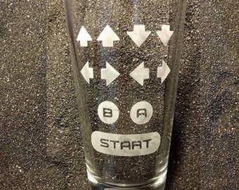 Konami Code Contra Code Nintendo gamer etched pint glass tumbler