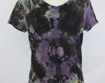 Tie Dye T-shirt Womens Size Large Purple Black V neck