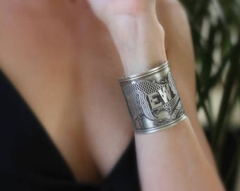 Sale - New Orleans Etched Sterling Silver Jewelry - Cuff Bracelet of Historical Map Legend