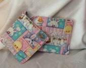 Pink Easter Holiday Quilted Potholder Set of 2