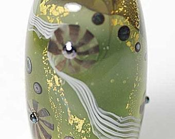 Satake Green Lampwork Bead