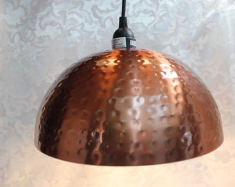 Copper Hammered Hanging Lamp -