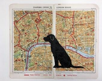 Black Labradorlinocut original artwork on vintage A to Z of London map for dog lovers, labrador fans, gift, birthday, housewarming