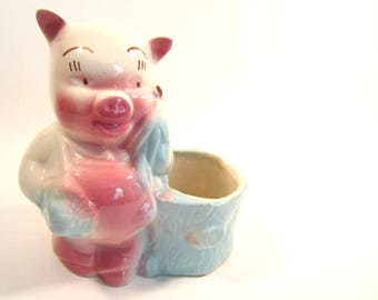 Vintage Pink and Blue Pig Planter Pottery Ceramic Storage Pencil Paintbrush Container Cottage Chic