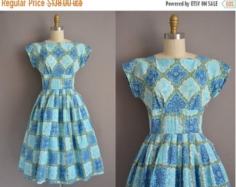 20% OFF SHOP SALE... 50s blue and green cotton print vintage dress / vintage 1950s dress