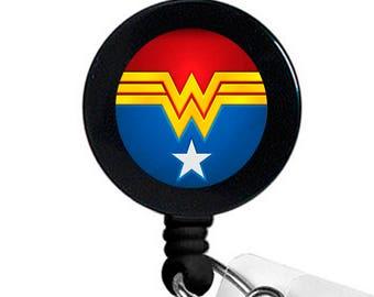 Wonder Woman Badge Reel - Retractable Badge Reel - Nurse Badge Reel - Hospital Badge Reel - Medical Badge Reel - ID Badge Holder - RN Badge