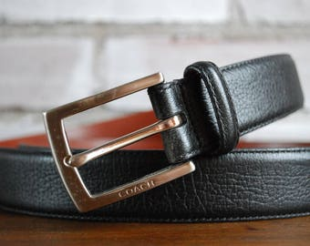 "Coach black leather men's belt 1990s  38"" or 93 cm"