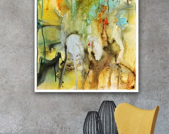Blue and gold painting, Abstract print, gold blue Modern print, Abstract Painting on print, Fine Art Print, yellow green art print on canvas