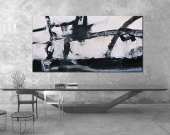 Original abstract Painting on Canvas, Black white art, Original Art modern, Original painting, abstract black and white lines white painting