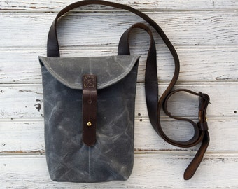 Waxed Canvas Small Hunter Satchel in Slate, Waxed Canvas Crossbody Bag, Waxed Canvas Bag, Purse, Travel Bag, Crossbody Bag, For Her, Tote