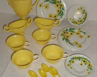 Banner Plastic Toy Dishes. Teapot, Sugar, Creamer, Cups. Metal Plates and Saucers