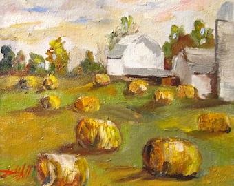 Barnes and Bails farm landscape oil painting 8x10 Art by Delilah
