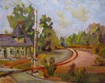 Rail Road Crossing landscape 8x10 oil painting Art by Delilah