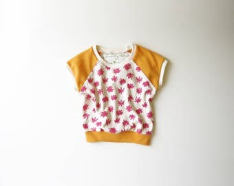 SALE | 25% OFF | Size 6-12 Months | Cactus Flowers | Organic Cotton Cap Sleeve Raglan | Pink & Orange | Baby Girl