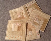 "SPECIAL LISTING For PHYLLIS, Set of 5 Table Mats, 9"" Square, Low Volumn Fabrics"