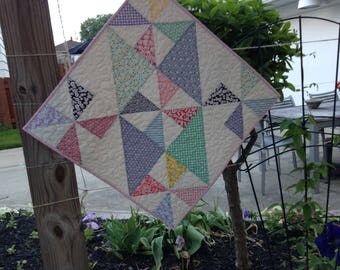 """PRETTY PINWHEELS QUILT, 24"""" x 24"""", Cottage Chic, """"Quilted Lovie"""", Table Mat, 1930's Reproduction Fabrics, Wallwarmer, Country Farmhouse"""