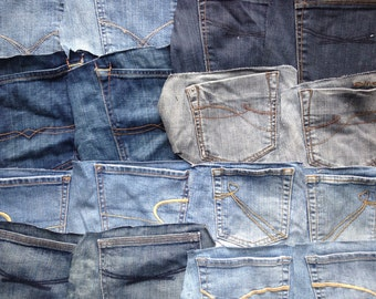 Denim Jeans Pockets - Craft Supplies - Set of 16 Blue Pockets for Your DIY Projects - Handmade Supply - Surplus Upcycle and Repurpose