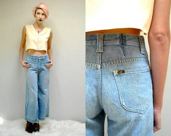 70s Bell Bottom Jeans  //  High Waisted Jeans  //  THE MOON
