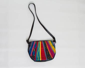 80s leather purse colorful vintage bag