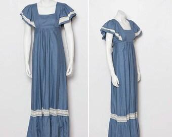 70s maxi dress | chambray blue