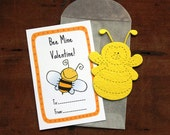 Bee Valentines- SET OF 8 - includes color printed card, seed paper, and glassine envelope- choose from 16 seed paper colors