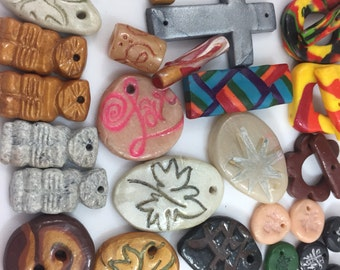 CLEARANCE: Handmade artist Polymer clay components, stamped pendants, toggles, drops, crosses, perfect for the jewelry artist, 40 pc