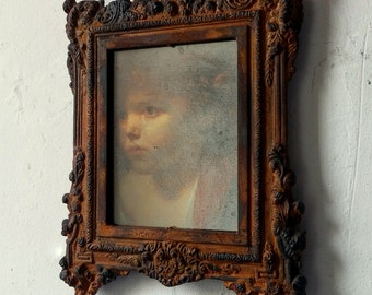 Rust Framed Mirror with Ghostly Image, Rusty Metal, Rustic Wall Decor, Distressed Metal Wall Art, Farmhouse Decor, Creepy Cute