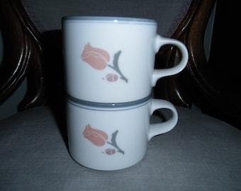 Pair of Vintage Dansk Tivoli La Tulipe Mugs, Gray Rims