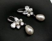 Wedding earrings bridal jewelry sterling silver cubic zirconia hook white cream round pear pearls cz marquise teardrop cluster drop earrings