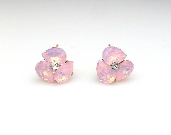bridal earrings wedding jewelry bridesmaid gift triple teardrop stud post gold earrings swarovski rose water opal fancy rhinestone crystal