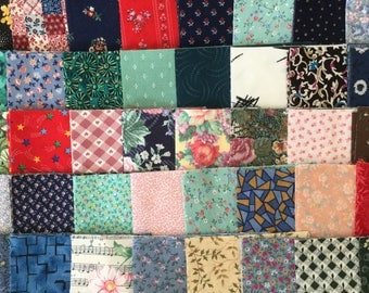 "250+ Pre cut 4"" and 4.5"" Cotton Fabric Quilt Blocks/Squares 4 Each Different Prints and Solids"
