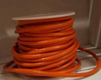 3mm Round Orange Leather Cord 1 yard