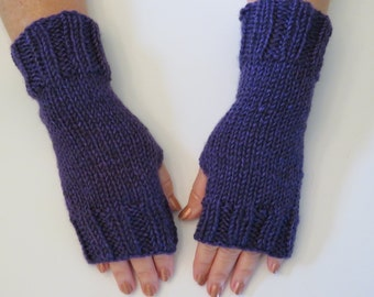 Hand Knit Fingerless Mittens/Texting Gloves-Hot Springs- Purple  Wrist Warmers