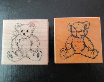 2 vintage PSX teddy bear rubber stamps - wood, cute, 80s, 90s,