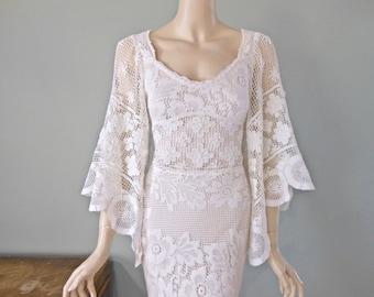 Crochet Lace Bohemian Wedding Dress MERMAID wedding dress Ivory Lace Wedding Dress Beach Wedding Dress Backless Dress Sz Medium
