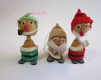 3 vintage wobble head figurines - gnomes, elves, dwarves