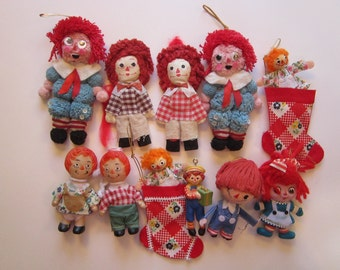 11 vintage ornaments - Raggedy Ann and Andy - instant collection