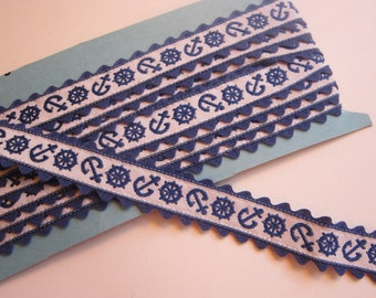 3 yards vintage woven ribbon - nautical ANCHOR ribbon with rick rack edging - blue and white