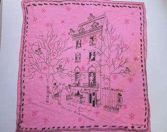 rare vintage Brooke Cadwallader PINK POODLE scarf - as is - signed Brooke Cadwallader - Season's Greetings holiday scarf