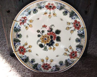 Antique 19th century Delft polychromatic hand painted plate-excellent-sale