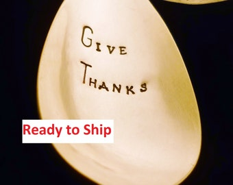 Give Thanks Serving Spoon: Holiday Entertaining Table Decor, Dinner Party; Hostess Mom Gift, Thanksgiving Christmas, Silver, Ready to Ship