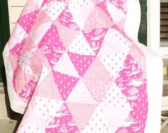 Fairy quilt, castle quilt, baby quilt, toddler quilt, girl quilt, handmade quilt