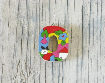 "Colorful La Palma Style Letter ""O"", El Salvador Arts and Crafts, Central American Folk Art, Wooden Hanging Letter, Kid's Room, Zero"