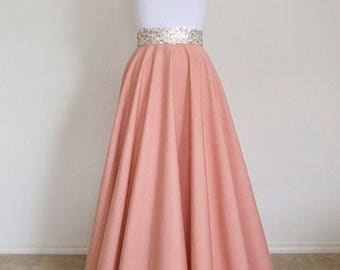 PLUS SIZE Full Length Circle Skirt - Light Coral - Bespoke. Made to Order Circle Skirt, MAXI Skirt - Handmade Skirt