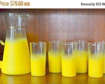 SALE 30% OFF vintage west virginia glass yellow blendo drink set / summertime yellow decor / cocktail glass set