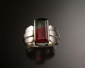 Watermelon Tourmaline Ring Sterling silver Size 9 large natural stone handmade ring