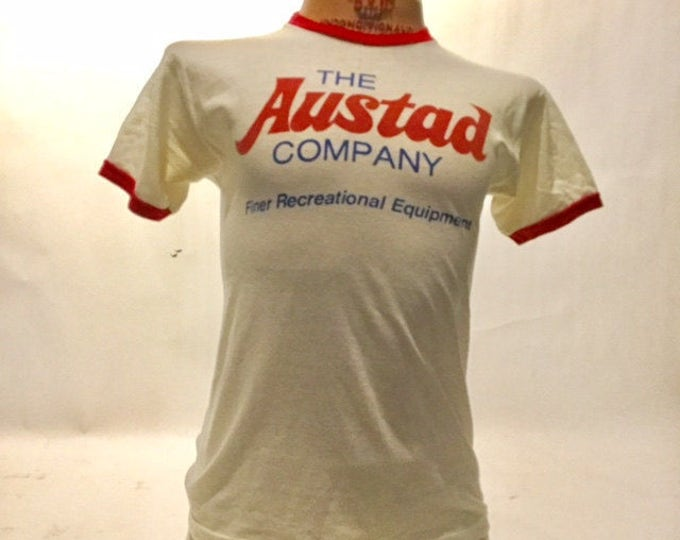 Vintage The Austad Company Champion Blue Bar 70's Tee Shirt Made in USA (OS-TS-64)