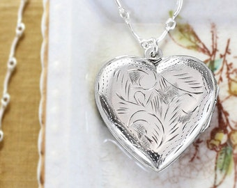 Sterling Silver Heart Locket Necklace, Photo Pendant with Curved Bar Link Chain - Classic Expression
