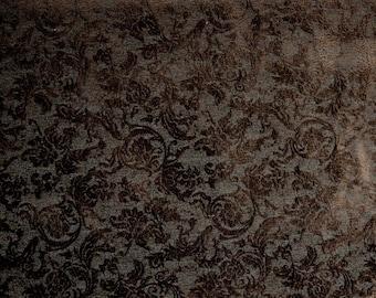 Chocolate Brown Chenille Damask Upholstery Fabric Como Havana