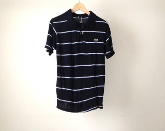 Le Tigre vintage 80s SLIM FITTING navy blue stripes short sleeve POLO size small